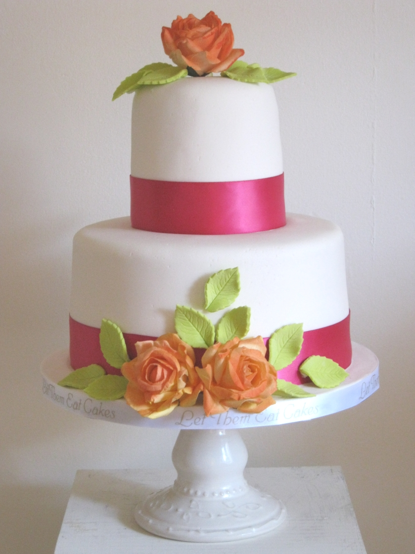 Let Them Eat Cakes Parchment Flowers Fuchsia And Orange