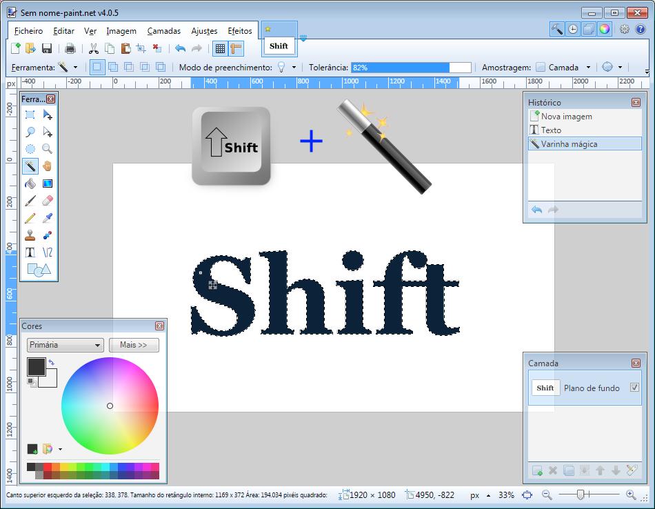 Paint.NET Varinha mágica + Tecla Shift_2