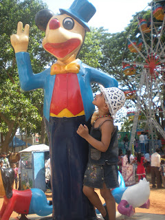 aishi baby girl with mickey mouse at bannerghatta park