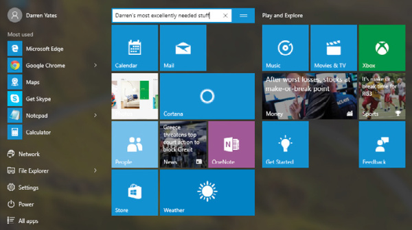 Windows 10's new old Start menu