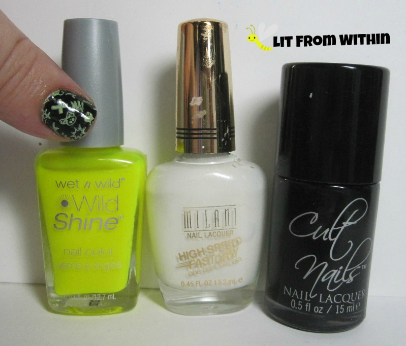 Bottle shot:  Wet 'n Wild Pin 'Em Slater, Milani White On The Spot, and  Cult Nails Nevermore.