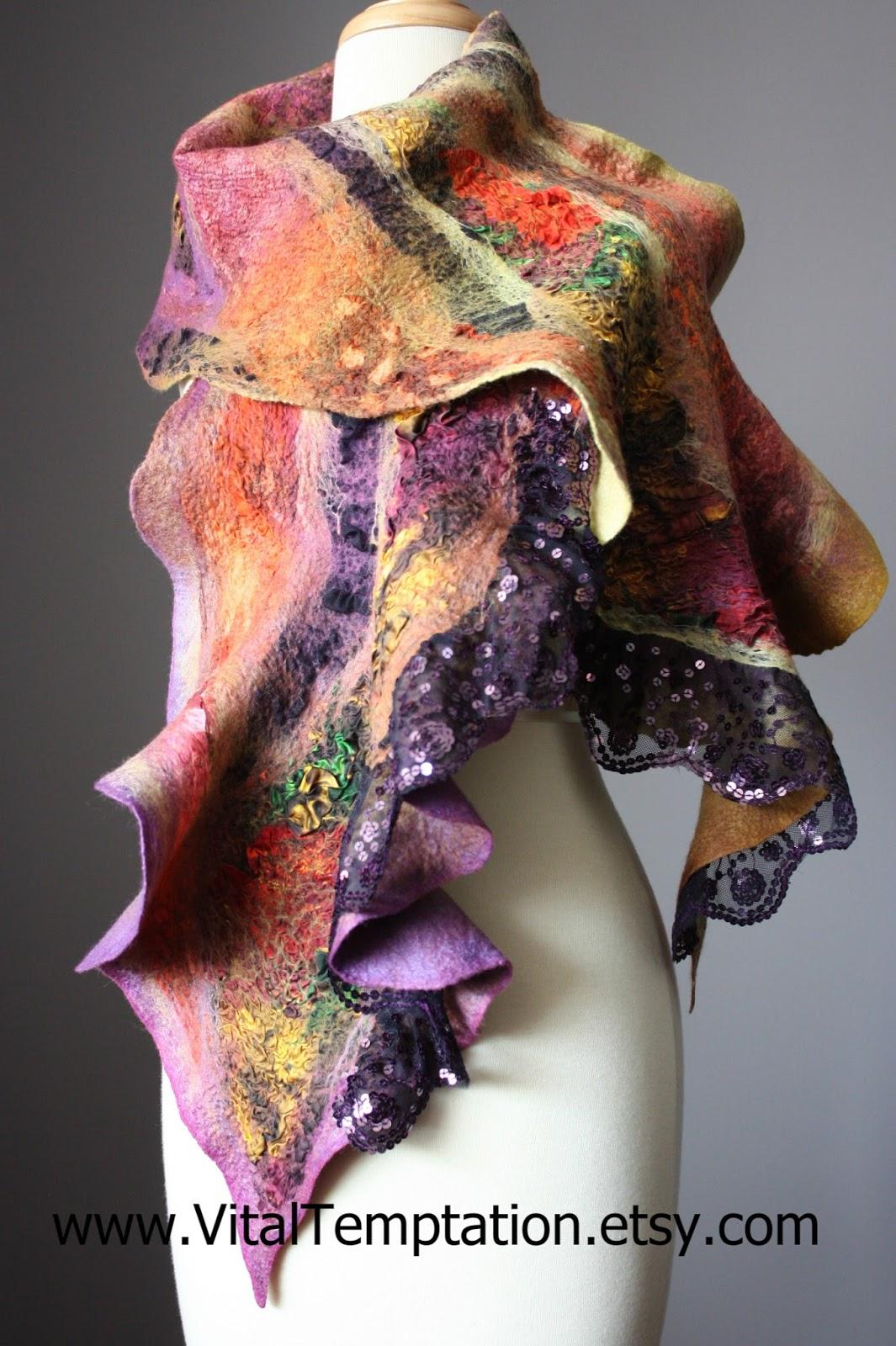 laboratory of fashion felted scarf merino wool silk
