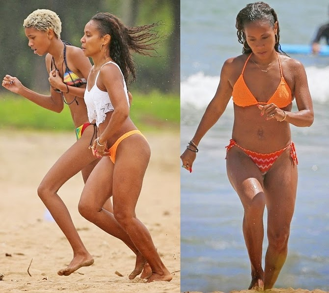 Jada Pinkett still flaunting her stunning bikini bod, hits the beach with Willow