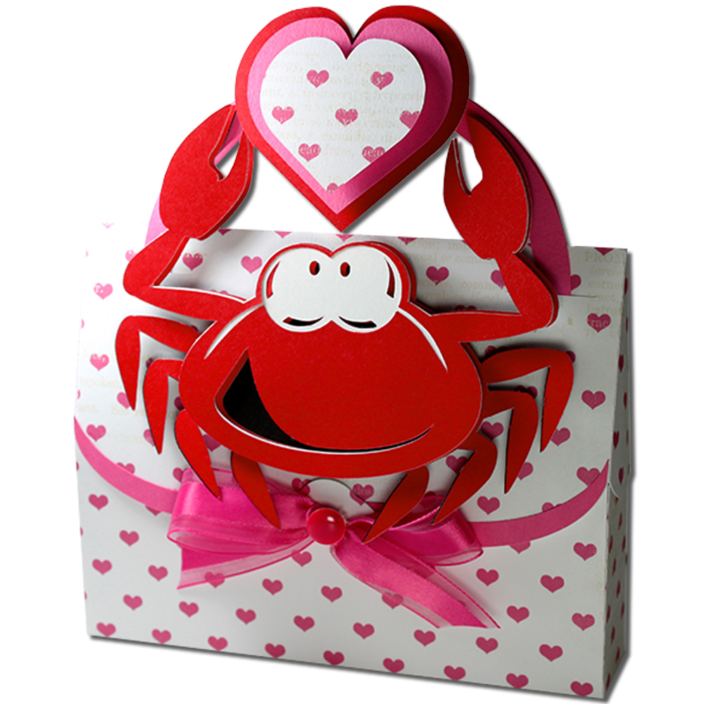 crab valentine handled box