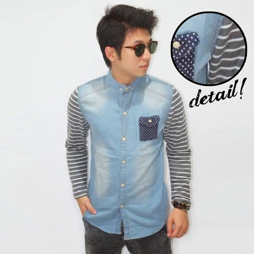 Kemeja Denim Pocket Polkadot Soft Blue