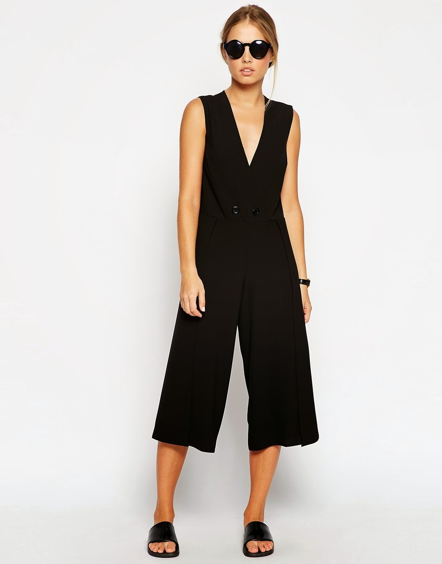 black wrap jumpsuit, black culotte jumpsuit,