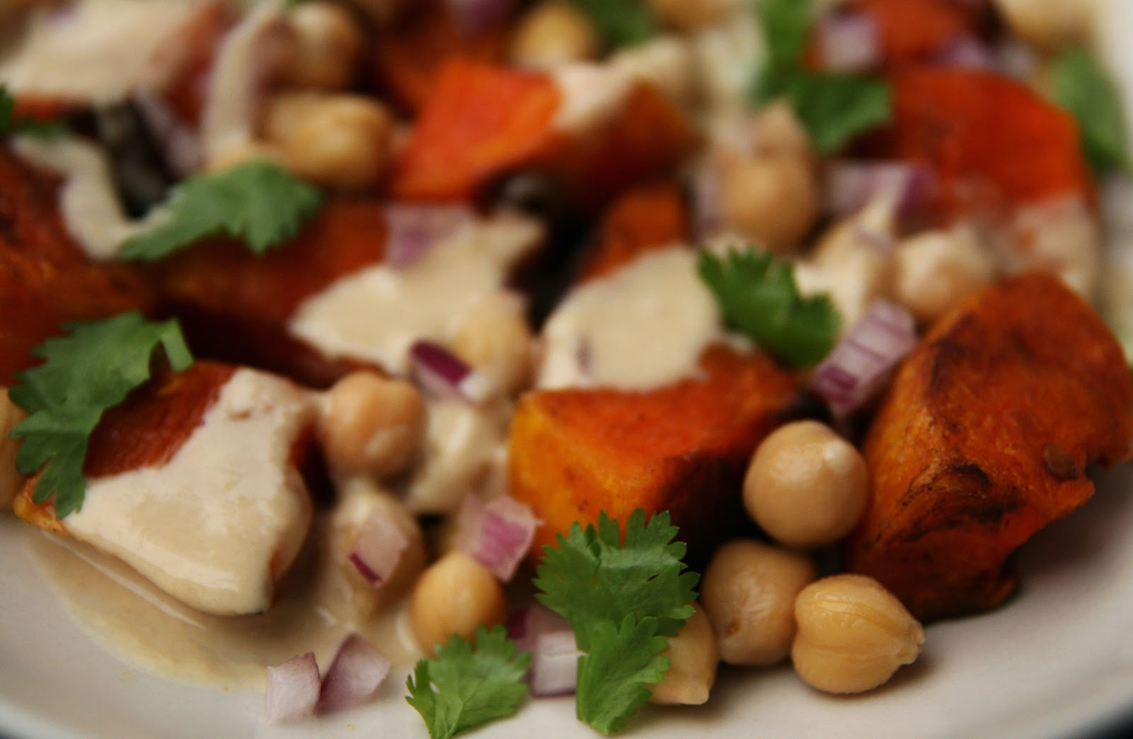 Warm Butternut Squash and Chickpea Salad with Tahini ...