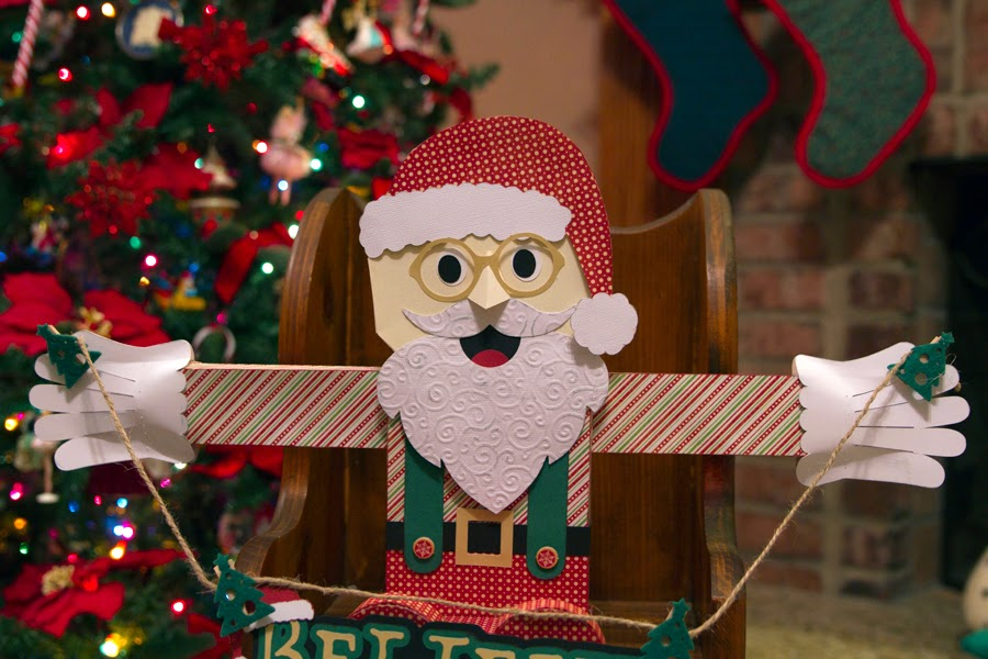 3d paper Santa ledge sitter - next to Christmas tree
