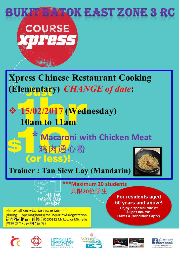 Xpress Chinese Restaurant Cooking change date