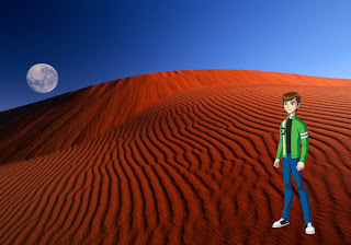 Ben Ten 10 Standing Tall wallpapers for free in Red Moon Desert background