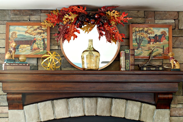 Fall mantel on stone fireplace with vintage paint by numbers-www.goldenboysandme.com
