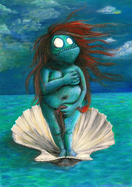 Kinderbuchillustration, monster, venus, children's book illustration, acrylic