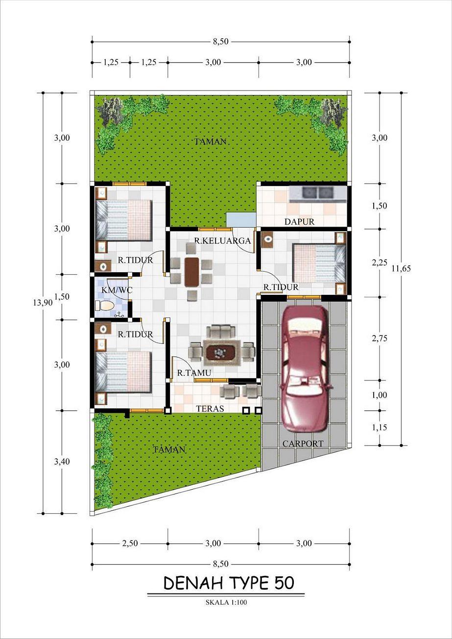 rancangan denah rumah type 60 yang bagus