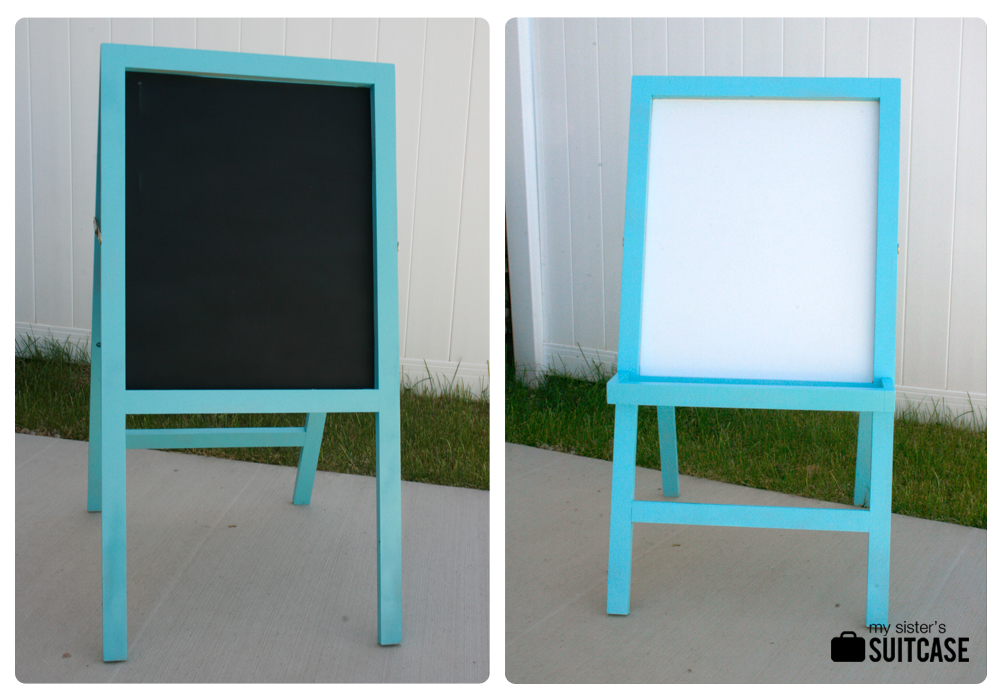 kid s easel makeover with fabric frame my sister s suitcase