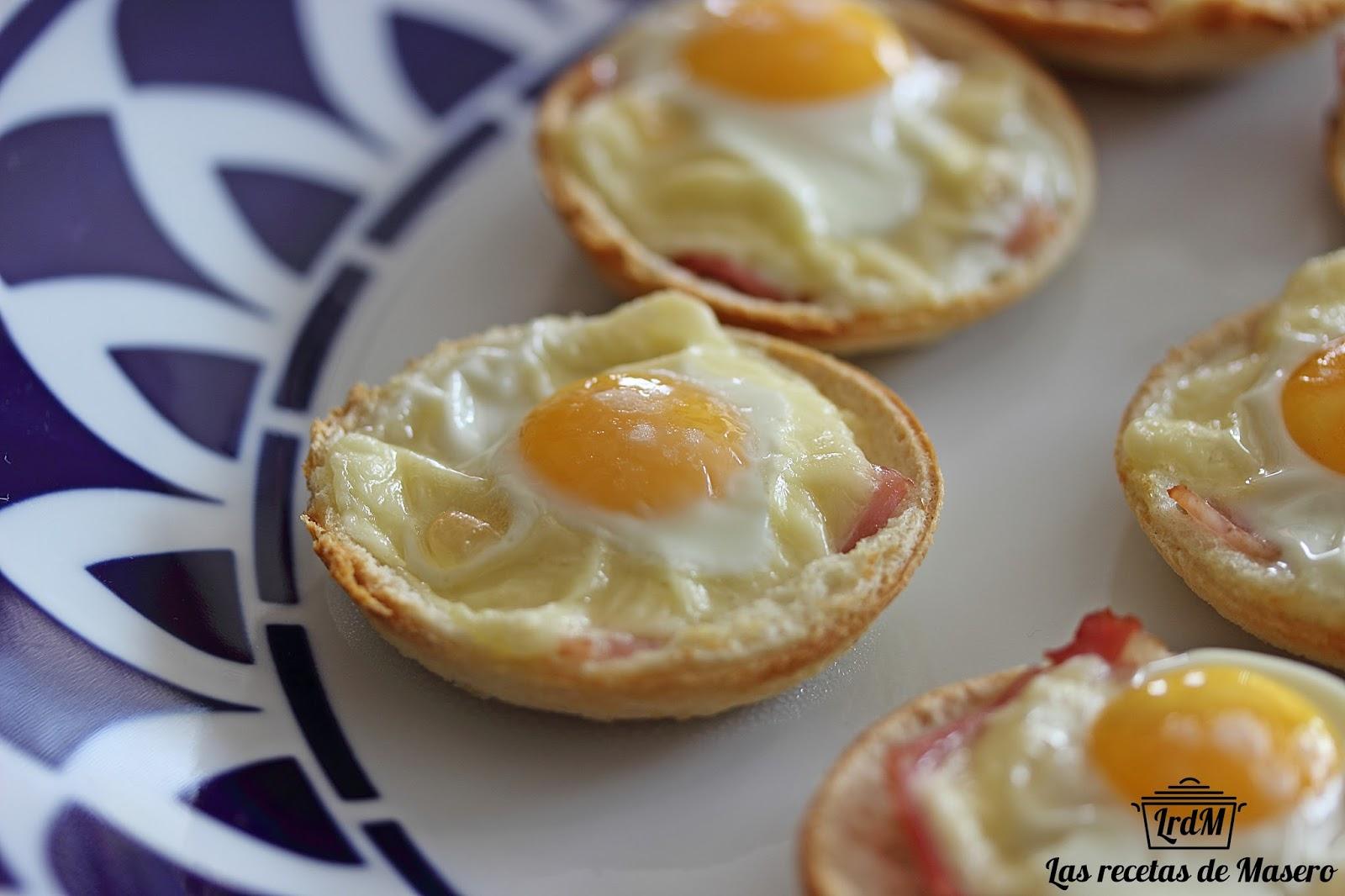 Las recetas de Masero Tartaletas de pan de molde con beicon y huevo