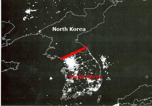 here is another one that never changes the korean peninsula lights out for the north