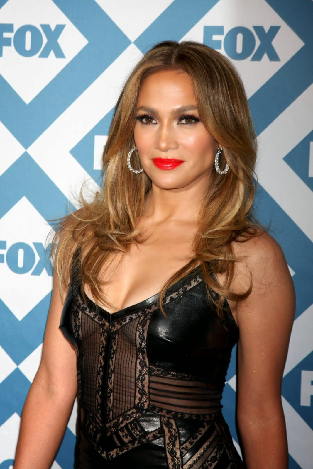 Jennifer Lopez in Sexy Leather Dress for Fox TCA Party ...