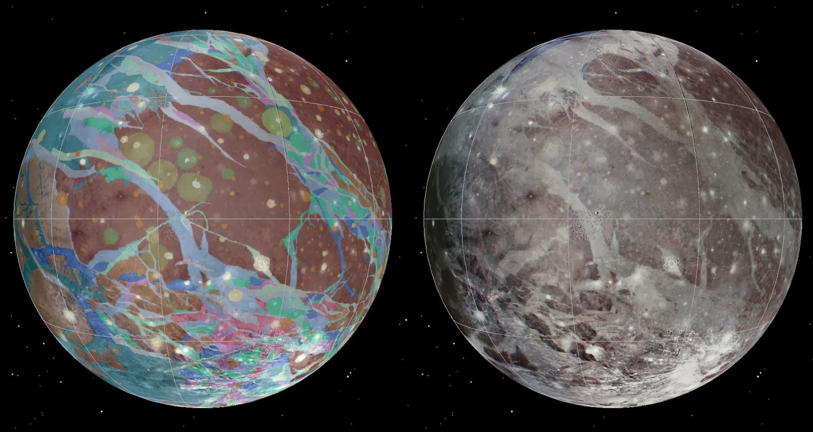Для составления геологической карты Ганимеда были отобраны лучшие снимки, полученные аппаратами Вояджер-1, Вояджер-2 и Галилео