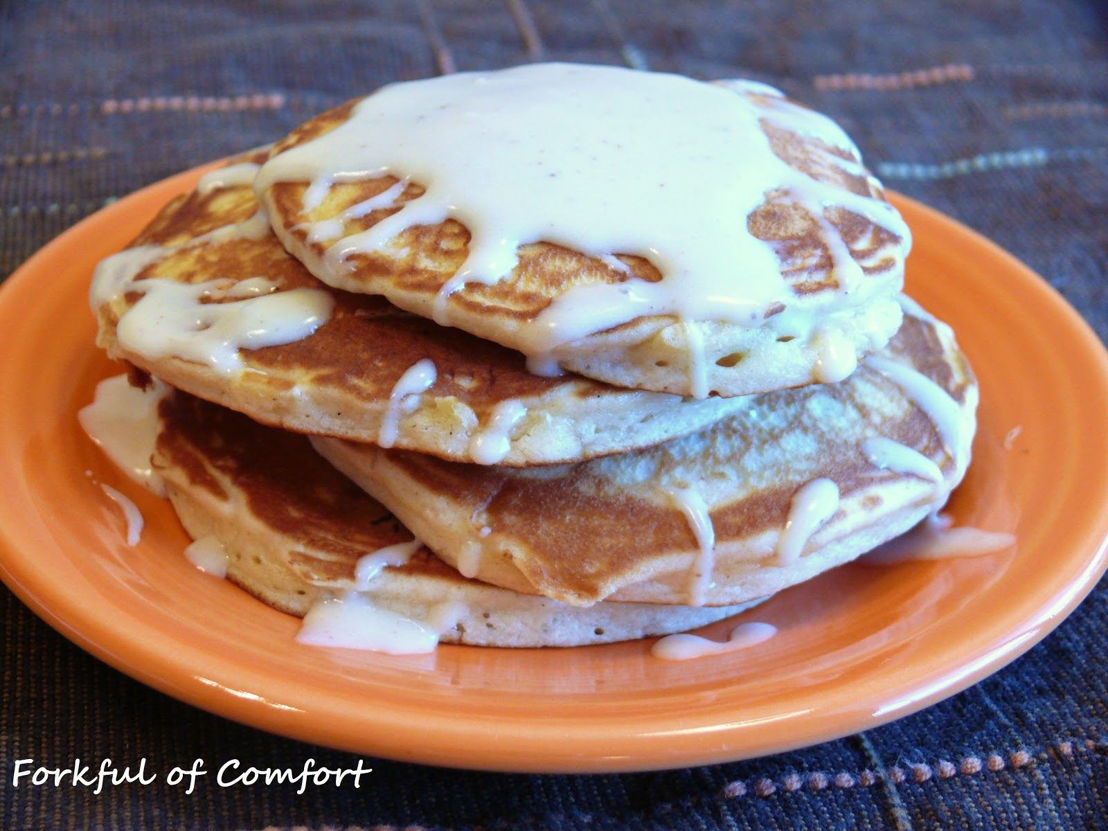 Forkful of Comfort: Eggnog Pancakes with Eggnog Glaze