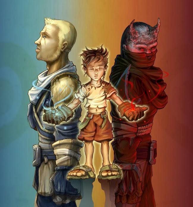 visuel de Fable avec l'enfant héros et les personnages en deux aspects positif et négatif