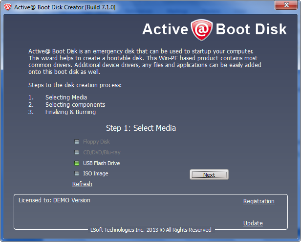 create active @ boot disk