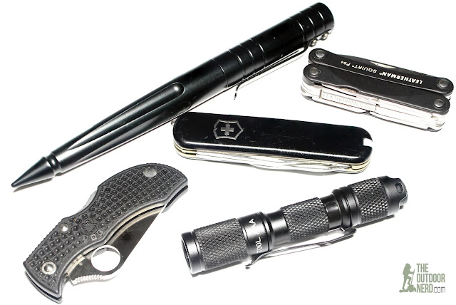 Lumintop Tool with Spyderco ManBug, Leatherman Squirt PS4, Victorinox Executive and S&W Tactical Pen