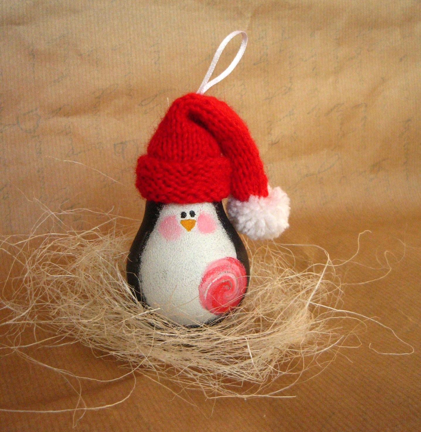 Ёлочные игрушки пингвины своими руками