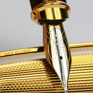 S.T. DUPONT Olympio Gold Plated 18 KT Gold Nib Fountain Pen MINT BOXED