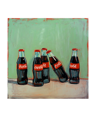 original gouache painting of coke bottles by jeanne vadeboncoeur