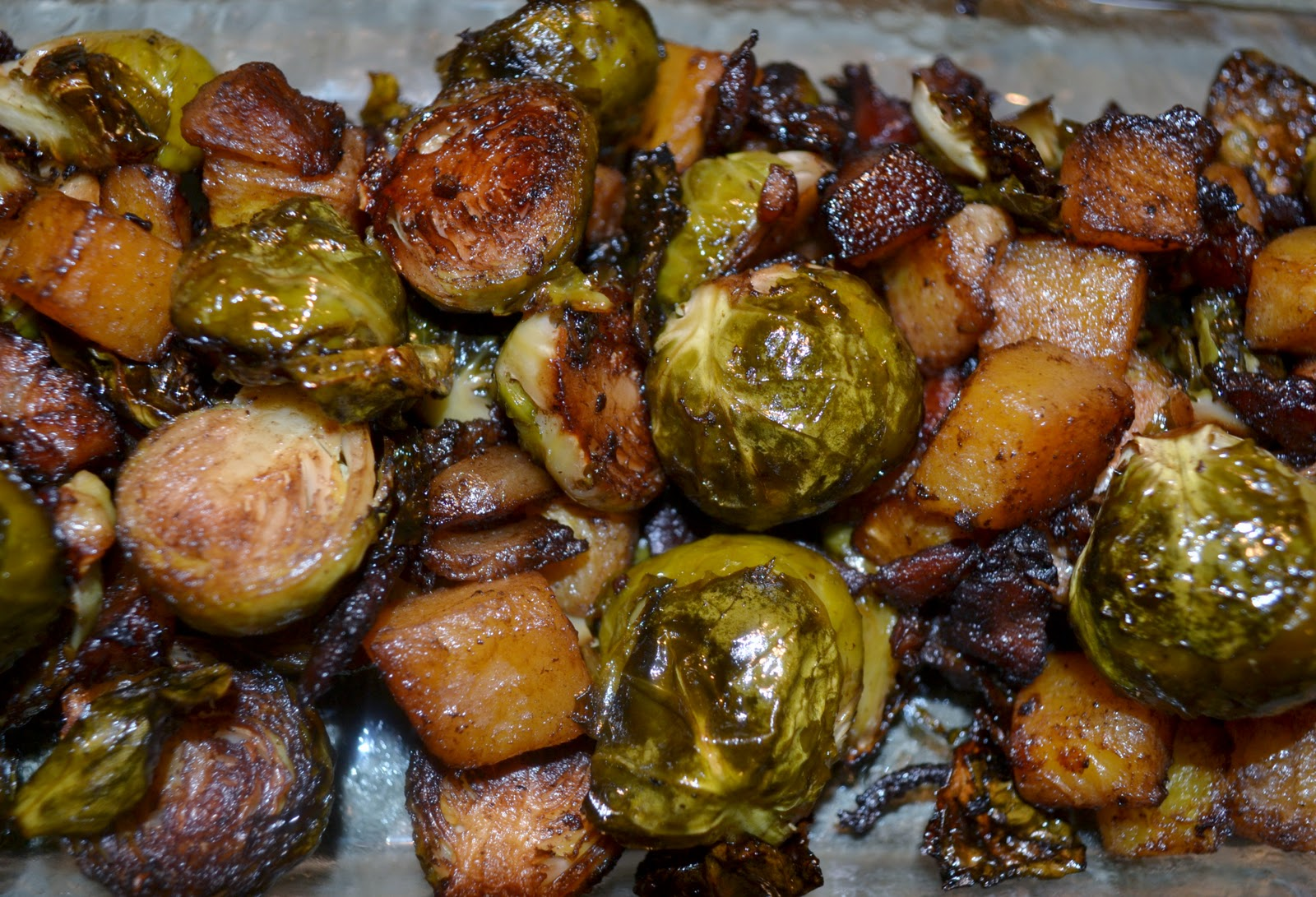 Balsamic Roasted Brussels Sprouts and Butternut Squash with Bacon