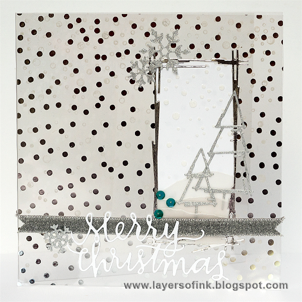 Layers of ink - Transparent Silver Glitter Card by Anna-Karin