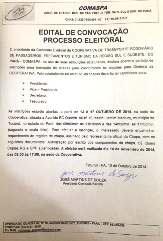 COMASPA: EDITAL DE CONVOCAÇÃO DE PROCESSO ELEITORAL