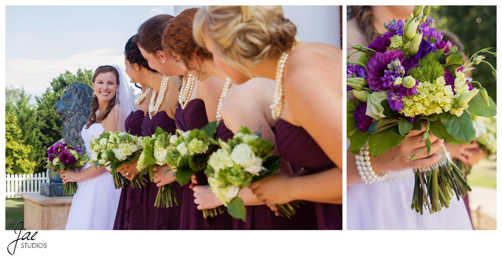 Jonathan and Julie, Bird cage, West Manor Estate, Wedding, Lynchburg, Virginia, Jae Studios, purple, bridesmaids, maid of honor, bouquet, pearls, blonde, brunette, red head, black hair