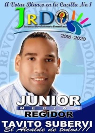 JUNIOR MEDINA, REGIDOR PRD SANTA CRUZ DE BARAHONA 2016-2020