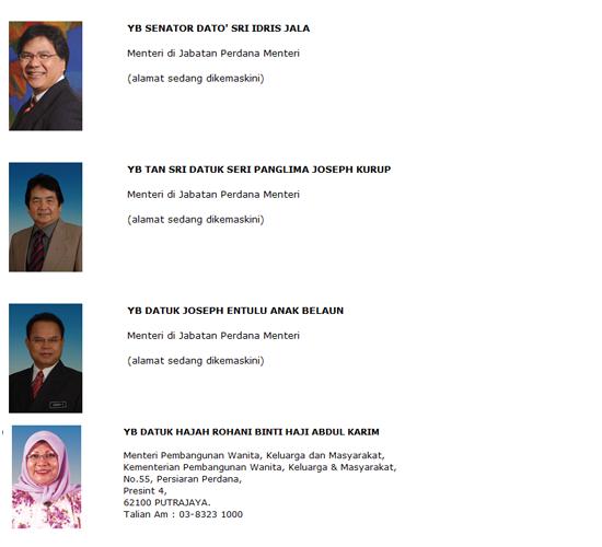 Senarai Nama dan Alamat Menteri Kabinet Malaysia 2013