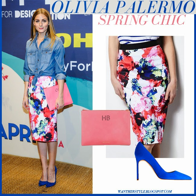 Olivia Palermo in denim shirt with floral print midi skirt milly for designation and blue pumps april 22 2015 chic spring style