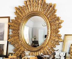 framed mirror circular gilded