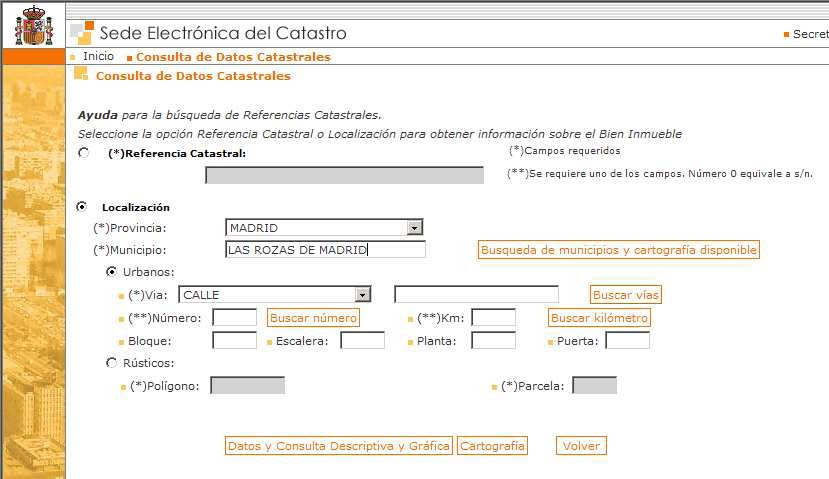 Somoscuatrocientos para obtener la referencia catastral for Catastro malaga oficina virtual