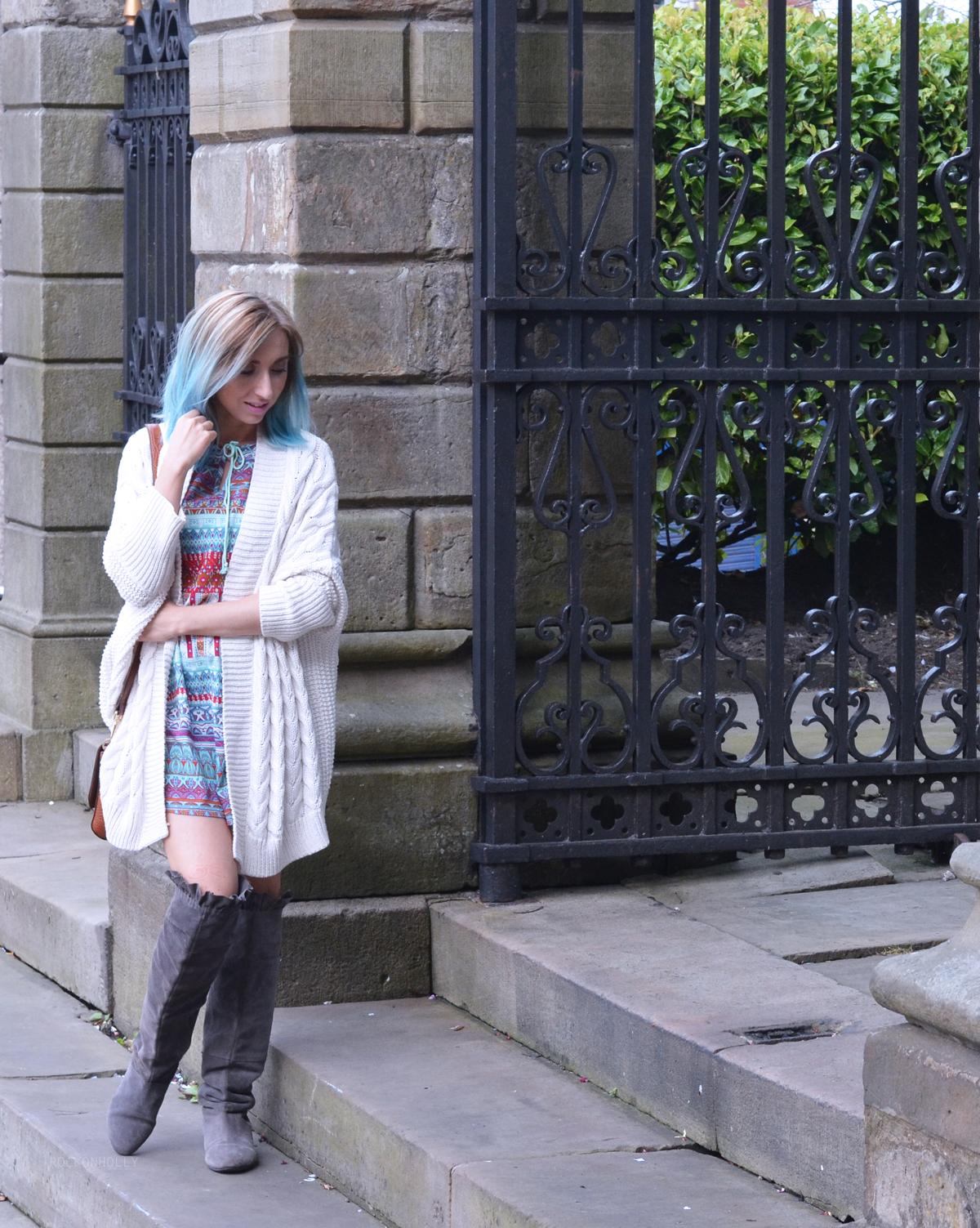 Cream Knit Cardigan on Rock On Holly Blog