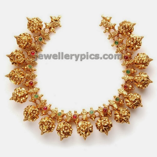 nakshi ball short necklace by nac jewellers antique collection