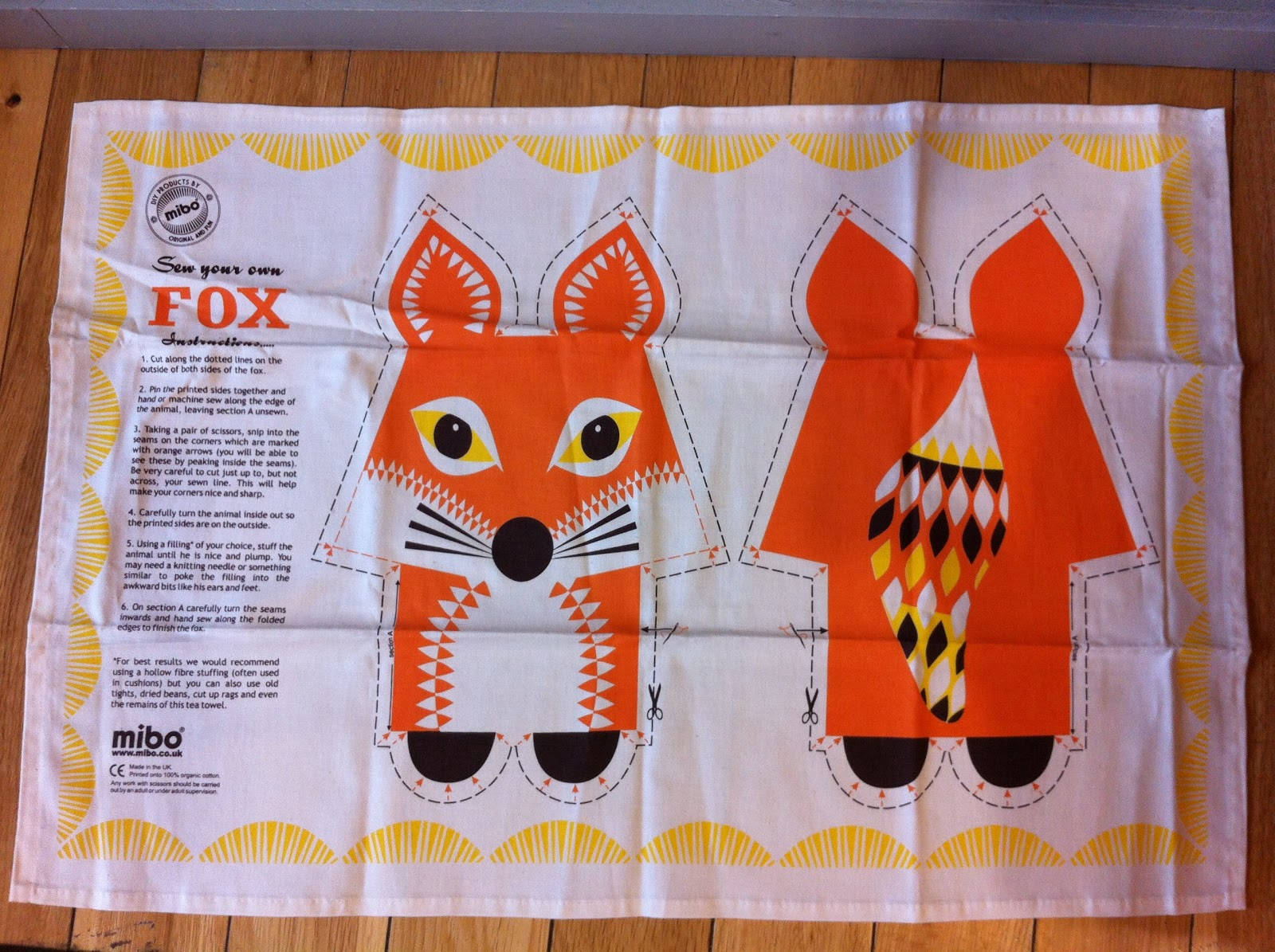 Mibo sew your own fox tea towel