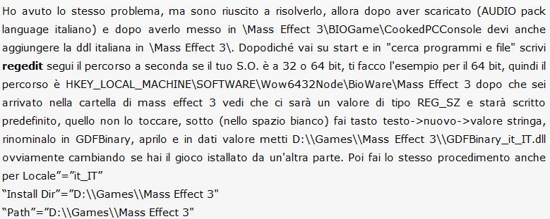 Conversione Traduzione FULL ITAGioco: Mass Effect 3.Tipo Conversione: FU