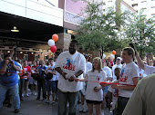 Cutting the ribbon at the walk with Grizz and his donor Ryan