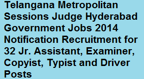 Telangana Metropolitan Sessions Judge Hyderabad Govt Jobs 2014 for 32 Jr. Assistant, Examiner, Copyist, Typist and Driver Posts www.ecourts.gov.in