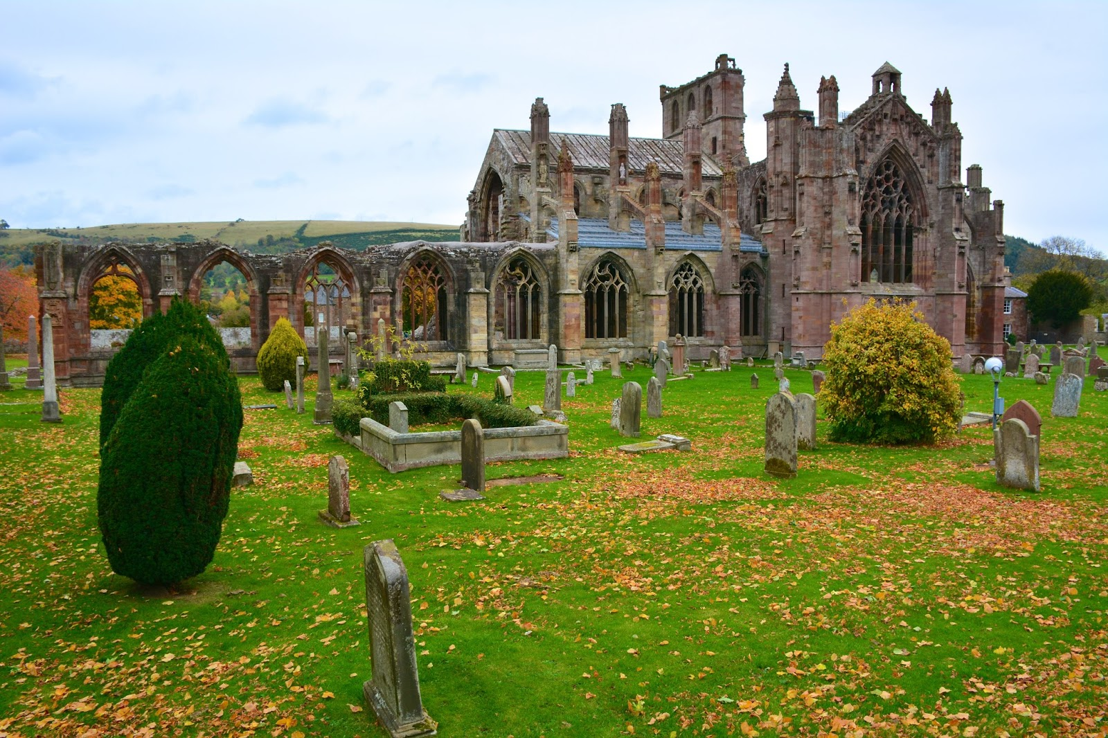 Melrose Abbey with autumn leaves
