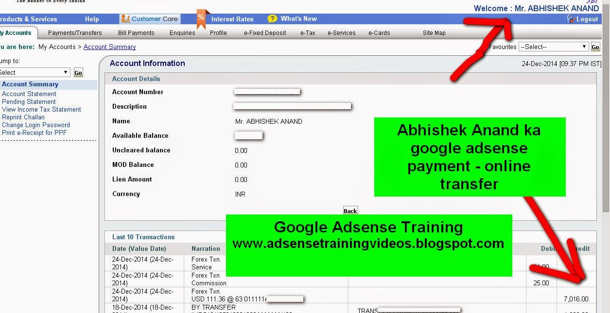 Google Adsense ke dwara 24 December ko mere bank account me 7,016 rs transfer kar diya gaya hai - Proof