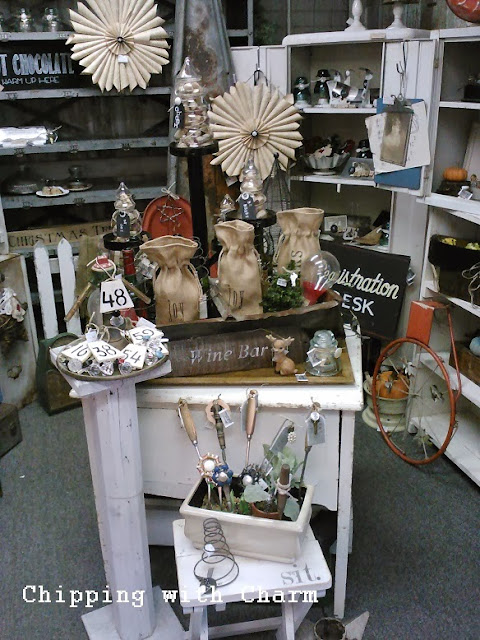 "Chipping with Charm: Our booth ""Christmas Trees For Sale""...http://www.chippingwithcharm.blogspot.com/"