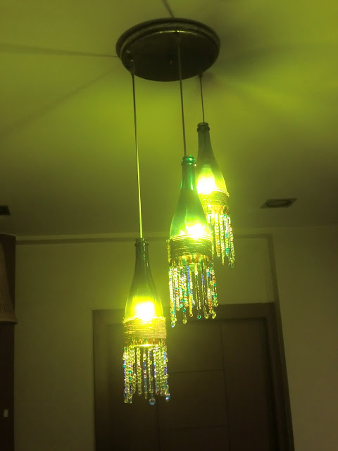 DIY Wine Bottle Chandelier by Jaya Sanghita