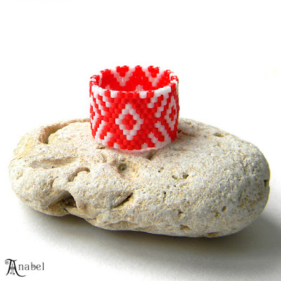 red and white peyote ring beadwork jewelry anabel 27