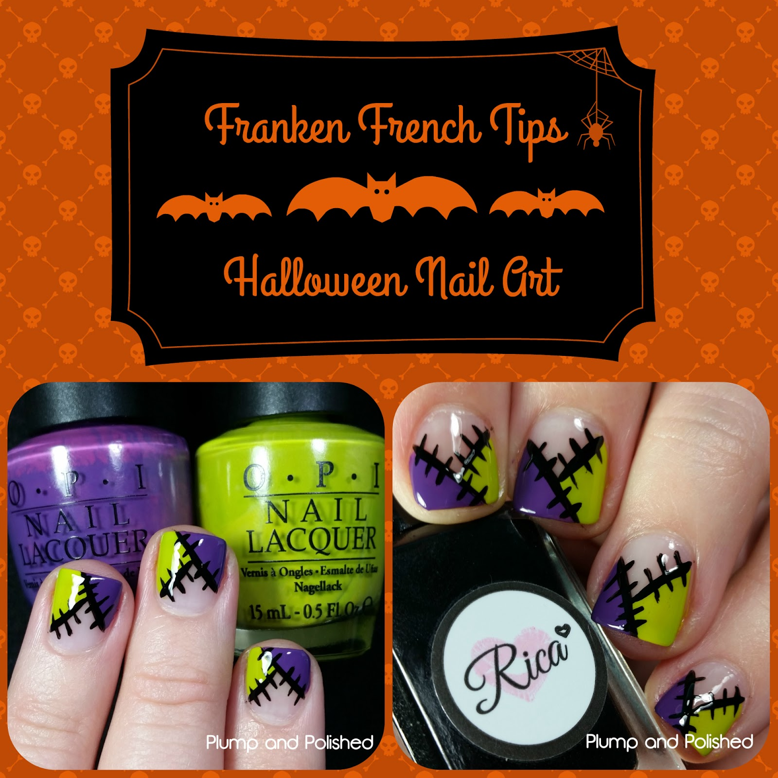 Plump and Polished: Franken French Tips - Halloween Nail Art